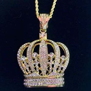 CROWN 18K GOLD DIAMONDS cz CHAIN MADE IN ITALY